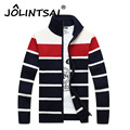 Men's Sweaters Winter Warm Thick Sweatercoat Zipper Stand Collar Casual Men Cardigans Striped Knitwear Male Coat Big Size 3XL