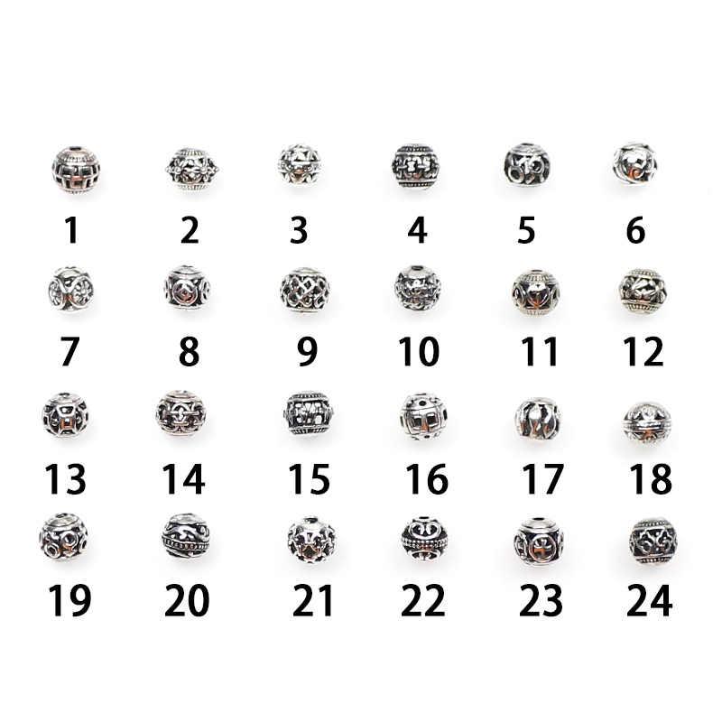 10/30 قطعة تصاميم متعددة 8 مللي متر التبت الفضة الخرز المعادن المستديرة الجوف خارج الحرفية الصلاة خزر عازل صالح أساور مجوهرات ذاتية الصنع