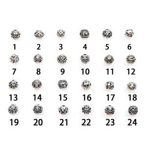 Image 3 - 10/30pcs Multi Designs 8mm Tibetan Silver Round Metal Beads Hollow Out Handcraft Prayer Spacer Beads Fit DIY Jewelry Bracelets