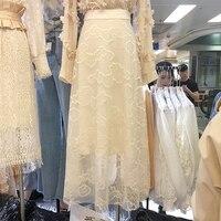 2018 Summer New Fashion Slim Lace Skirt Female Students Korea Style Sweet All match Skirts Women White / Apricot Skirt