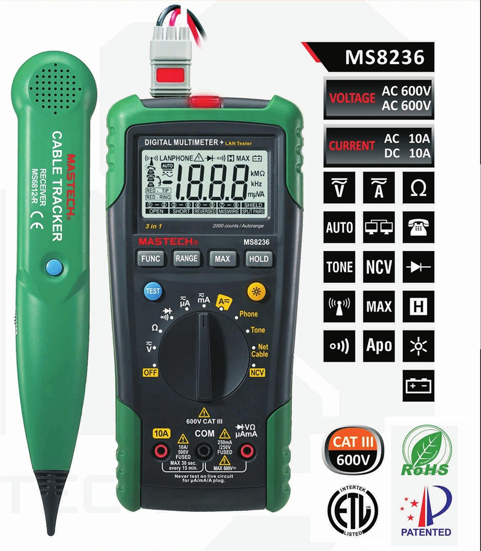 MASTECH MS8236 Digital Multimeter Netwoek Cable Tester Net Cable Tracker Tone Telephone line Check Non contact Voltage Detect