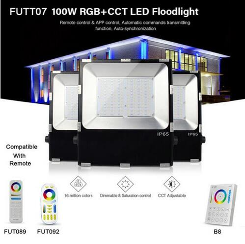 FUTT07 100W LED Floodlight IP65 waterproof RGB+CCT adjustment 2.4G wireless remote wifi cellpnone APP control LED Spotlight ...