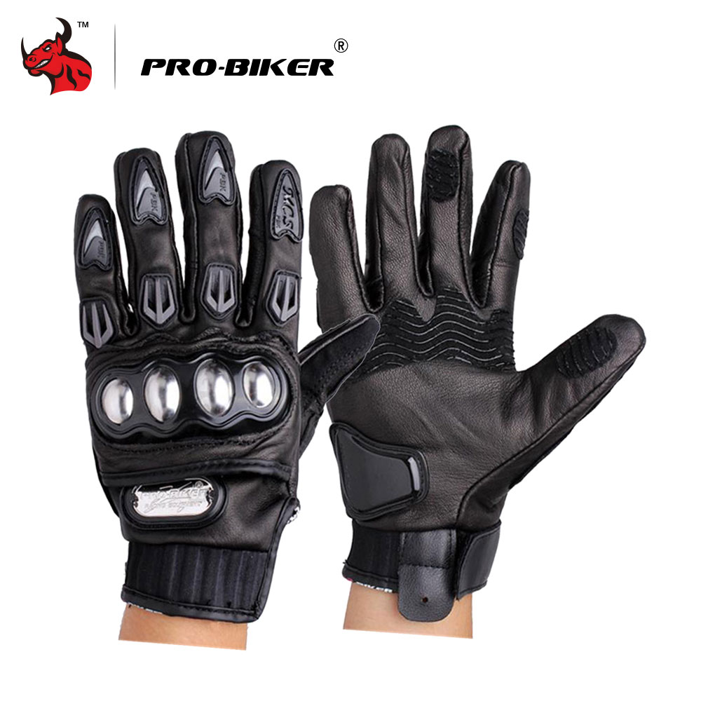 PRO-BIKER Motorcycle Gloves Genuine Leather Moto Gloves Full Finger Motocross Off Road Racing Gloves Black Motobiker Gloves pro biker motorcycle riding gloves breathable motocross off road racing moto full finger gloves with stainlesssteel injection