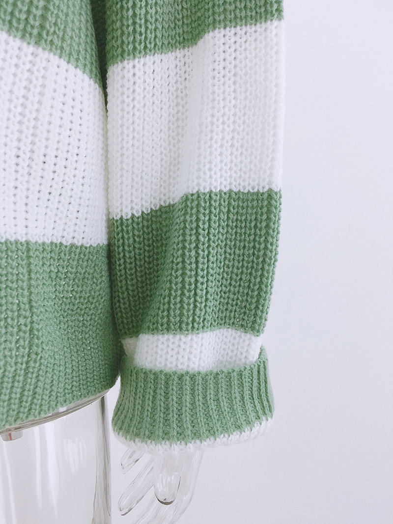 Fitshinling Striped Loose Ladies Sweater Pullover 19 Autumn Winter New Arrival Green Jumpers Knit Sweaters Women Pull Femme 16