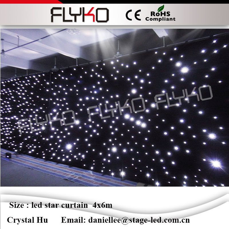 Flyko good quality led star curtain White lamp beads 4m*6m night club decor led star curtain