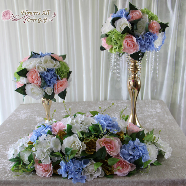 US $157 92 6% OFF flowers all over gulf table flower centerpiece wedding  lead road artificial silk rose garden arch square decorativ 10pcs/lot-in