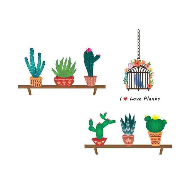 Cactus bird cage pot plant culture decal wall stickers pvc diy living room bedroom home art