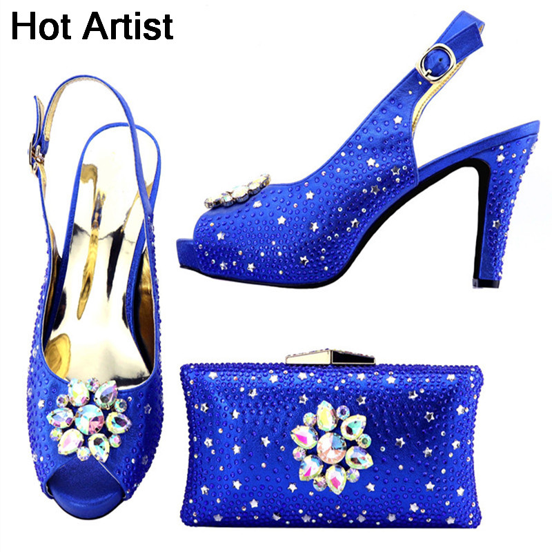 Hot Artist 2018 Blue Color Newest Italian Shoes With Matching Bag Set African Women Party Shoes And Bag Set Women Sandals TX-991 free shipping newest shoes matching bags royal blue italian designer shoes and bags ct16 06
