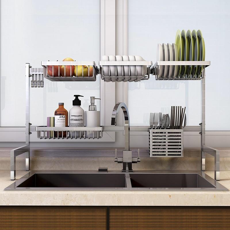 new 304 stainless steel kitchen dish rack plate cutlery cup dish drainer sink drying rack kitchen organizer storage holder