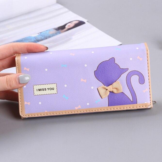 155933d845e68 Lady Cüzdanlar Kadınlar Kedi Yay Tasarım Uzun Kartları KIMLIK tutucu Kız  Cüzdan Debriyaj Sikke çanta Para Çantası Çanta Carteira Feminina