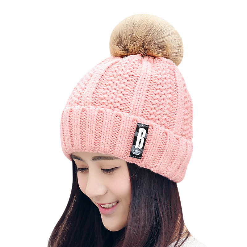 BONJEAN Letter B Beanies Women Winter Hats Crochet Knitting Wool Cap Fur Pompons Ball Warm Gorros Outdoor Brand Thick Female Cap rosicil letter hats gorros bonnets cocain