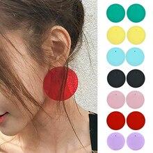 Fashion Women Transparent Geometric Circle Stud Acrylic Color Earrings Round Candy arracadas de moda boucles d'oreilles femme