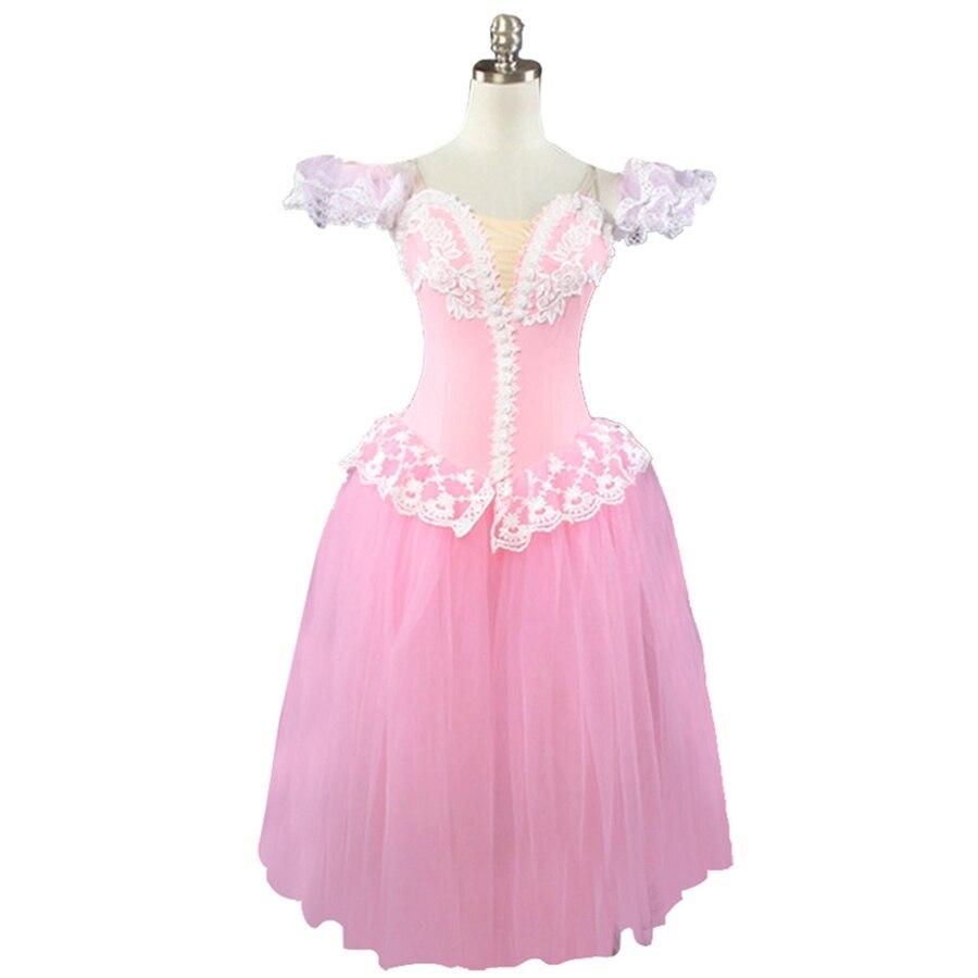 Adulte rose pêche romantique ballet tutu robe filles giselle robe de ballet professionnel BT8903