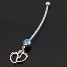 Maternity Belly Bar Flexible Tiny Feet Crystal Pregnancy Pregnant Navel Ring-M15