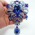 "5.04 "" flor broche de strass cristal azul"