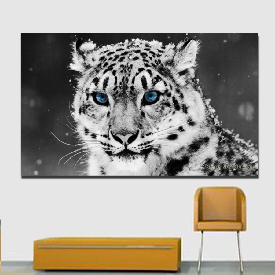 Leopard Big Cat Paint Abstract Animals SINGLE CANVAS WALL ART Picture Print