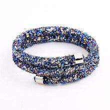 Double Crystal Bangle of Rhinestone Paved Tube Crystal Bracelet Jewelry