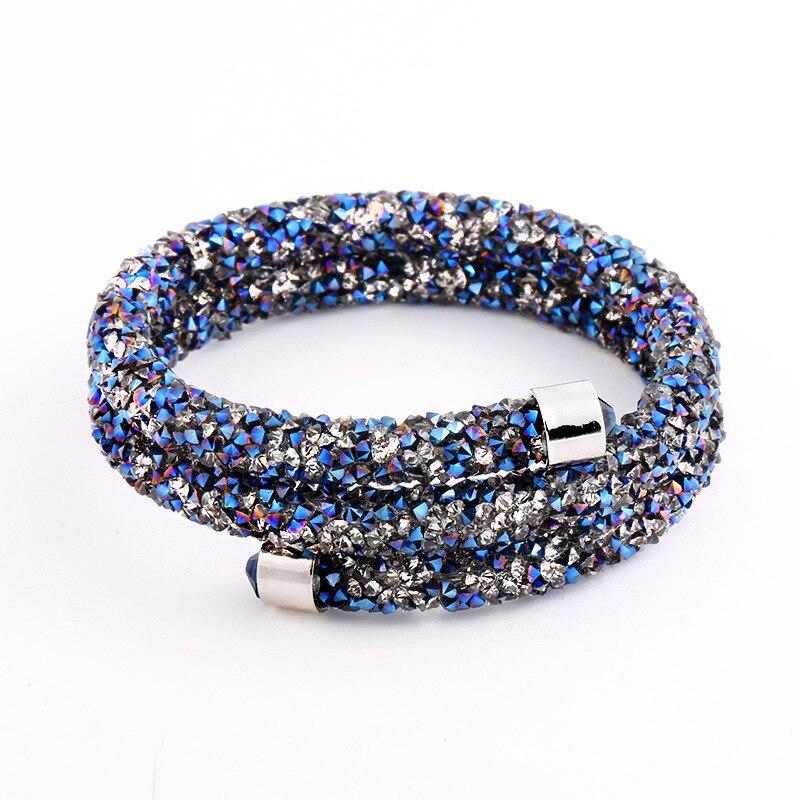 Double Crystal Bangle of Rhinestone Paved Tube Crystal font b Bracelet b font Jewelry