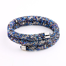 Double Crystal Bangle of Rhinestone Paved Tube Crystal Bracelet Jewelry