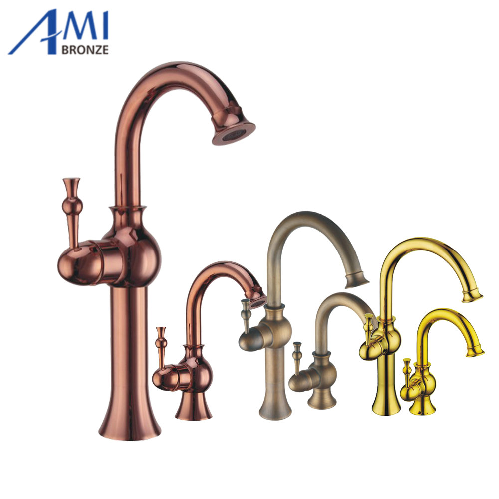 Bathroom Brass Faucet Antique Brass copper Golden Roman Bronze Faucets Sink Basin Mixer Tap 9095 9096