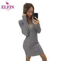Sweater Dress Sexy Lady Knitted Slim Bodycon Dresses Elastic Women Fashion O Neck Long Sleeve Dress