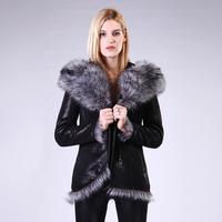 Зимние Для женщин Шуба 2018 Фирменная новинка Женская мода Большой натурального меха с капюшоном Куртка с воротником женские длинные овец по