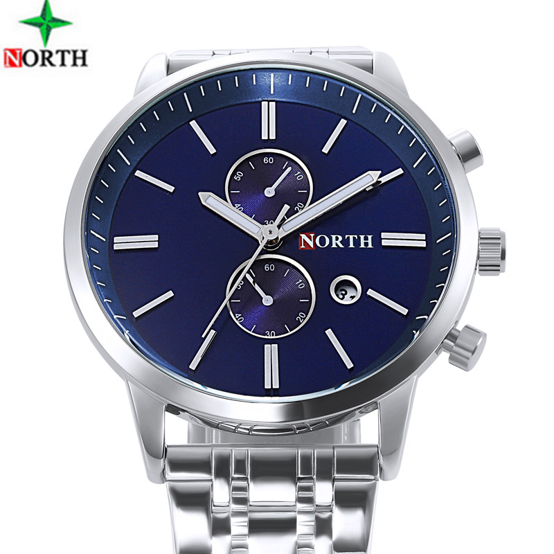 NORTH Top Brand Luxury Men Watches Business Quartz Steel Watch Auto Date Waterproof Clock Relogio Masculino Montre Homme new men stainless steel gold watch luxury brand auto date mens quartz clock roman scale sports wrist watches relogio masculino