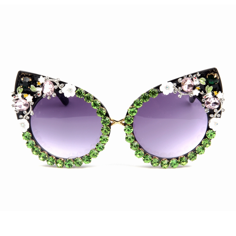 2018 Sunglasses Women Luxury Brand glasses Green Red Rhinestone Cat Eyes Sunglasses Vintage Shades Eyewear Oculos Dropshipping