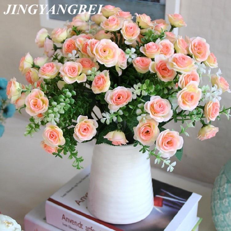 15 бутонов, букет из маленьких бутонов, роз, искусственные цветы, Шелковая Роза, декоративные цветы, украшение для дома, Свадебный декор