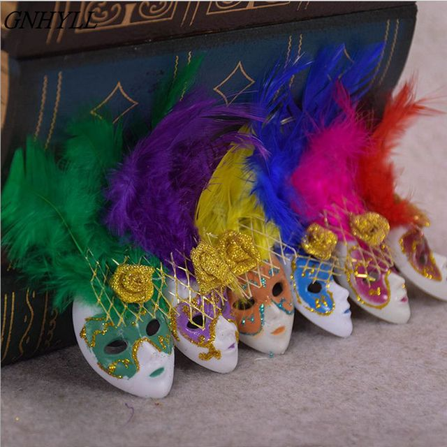 Venice Mask Magnet Decorated with Feathers Set 12 Pcs