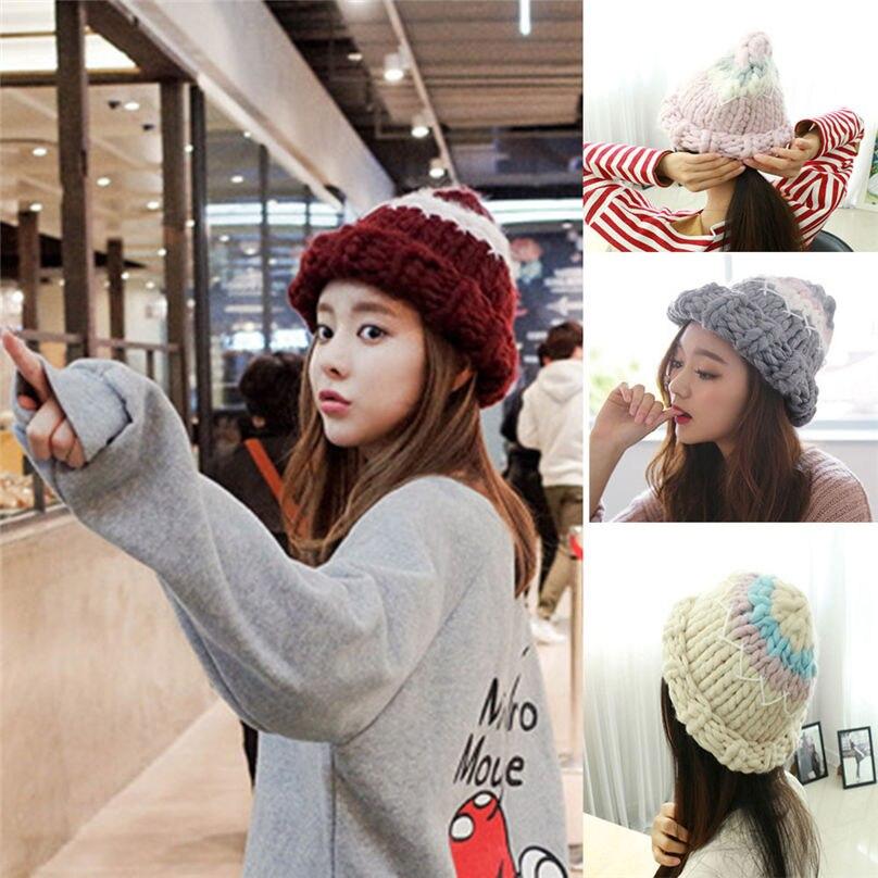 New Girl Comfortable Women Ladies Keep Wool Warm Winter Beanie Knit Crochet Hat Cap Hot Sale Casual outdoor european #4F02