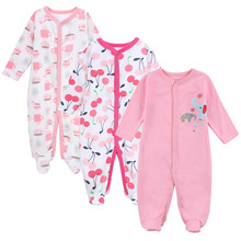 Купить с кэшбэком Mother Nest 2017 Baby Boy Clothes 3pcs Newborn Baby Romper Body Girl Sleepwear Jumpsuit Cotton   Infantil Bebes Pajamas