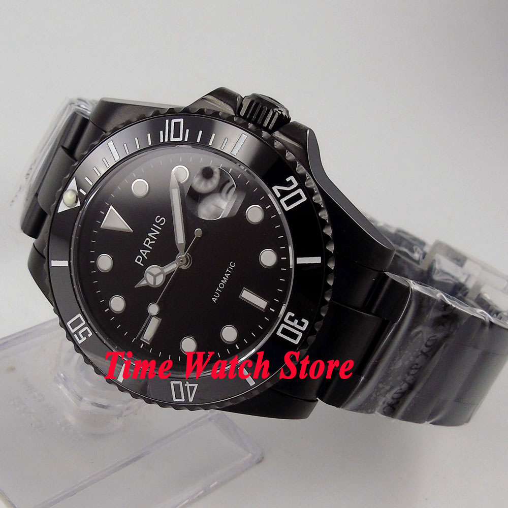 Parnis watch 40mm Black dial sapphire glass ceramic bezel PVD case Automatic movement Men's watch 145 relogio masculino цена и фото