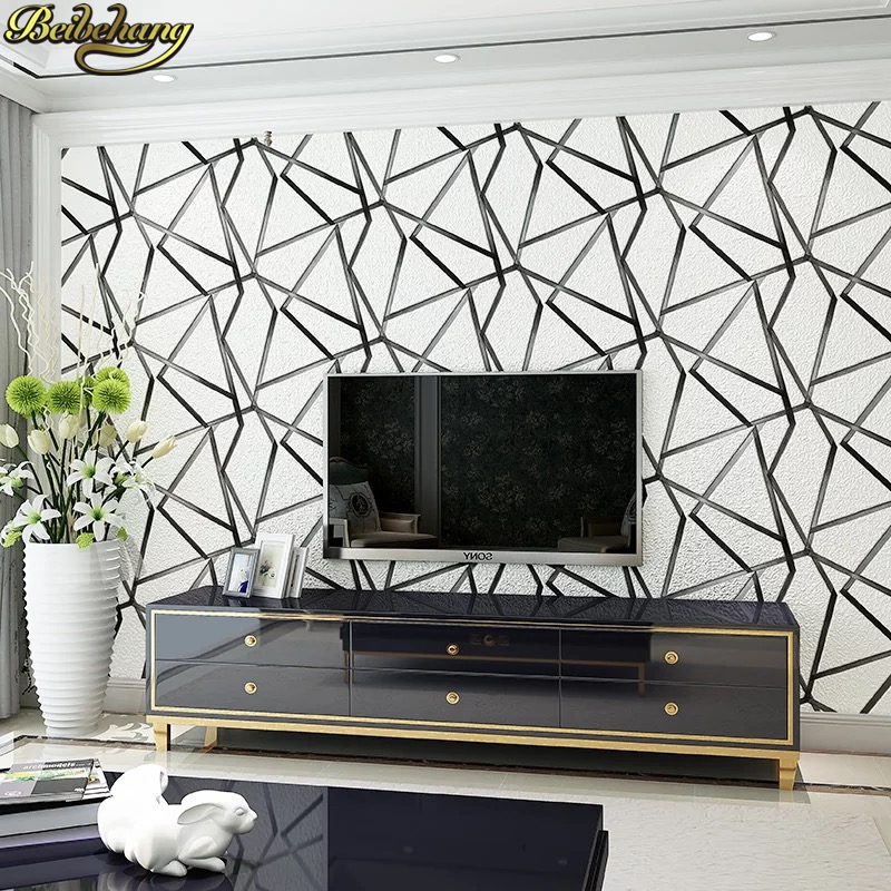 beibehang Deerskin Modern Geometric triangles Embossed Flocking Mural Wallpaper Roll Living room wall papers home decor sticker milan classical wall papers home decor non woven wallpaper roll embossed simple light color living room wallpapers wall mural