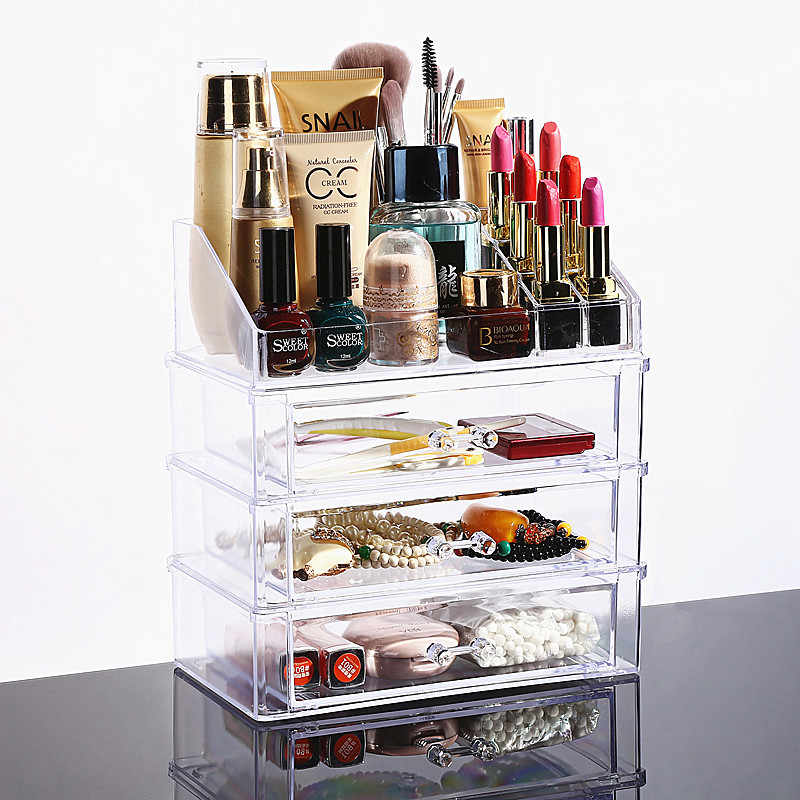 New Clear Acrylic Makeup Organizer Drawer Storage Box Skin Care Home Desktop Women Makeup Tools Jewelry Lipstick Storage Case