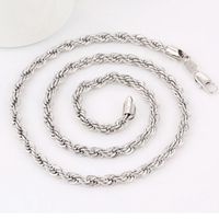 4mm Classic Rope Necklace For Women Men White Gold Filled Rope Chain Long Choker Hot Fashion