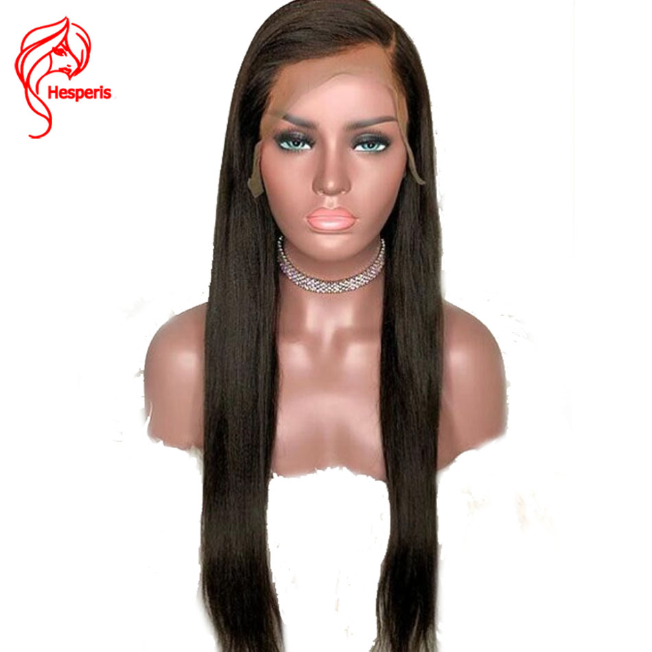 Hesperis Lace Front Human Hair Wigs Brazilian Remy Hair Yaki Straight Lace Front Wigs Deep Part 13X6 Lace Wigs Pre-Plucked