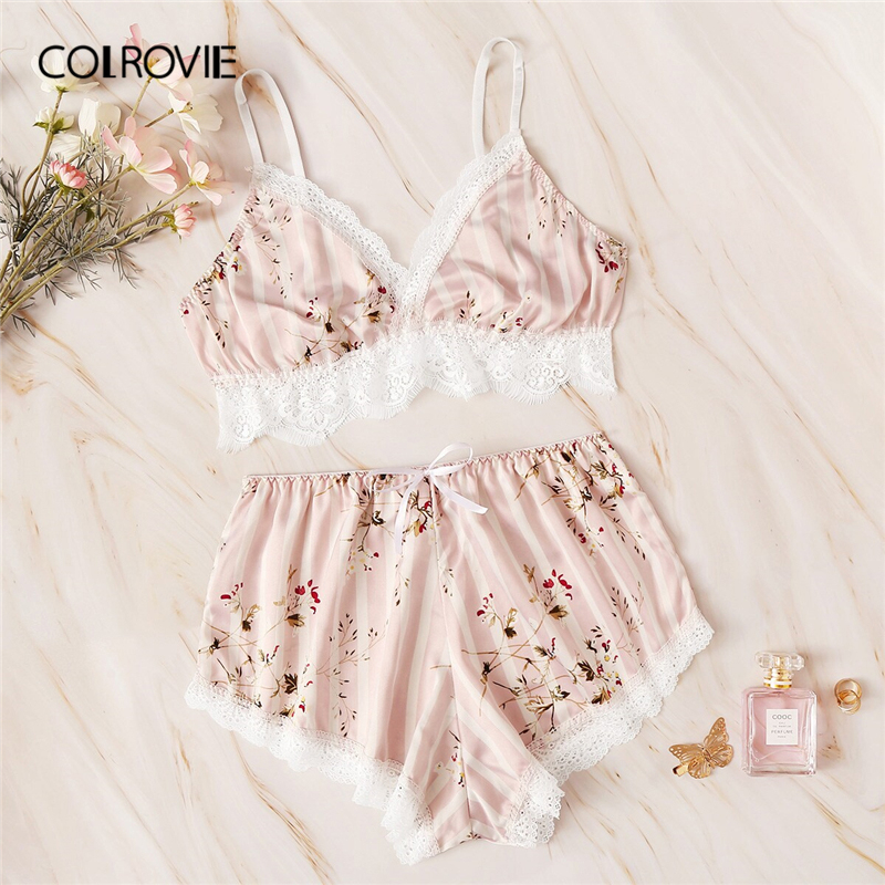 COLROVIE Pink Floral Print Lace Striped Satin Lingerie   Set   Sexy   Pajama     Set   Women 2019 Summer Bra And Briefs Female Sleepwear