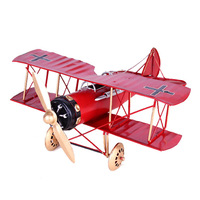 Vintage Metal Plane Home Ornaments Air Plane Model Toys For Children Airplane Miniature Models Retro Creative