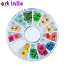 Artlalic Top Quality 36pcs 3D Nail Art Sticker Dried Flower Dry Real Flowers DIY Tips Acrylic Decoration Wheel