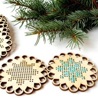 Christmas cross stitch Snowflakes Wooden cross stitch blank