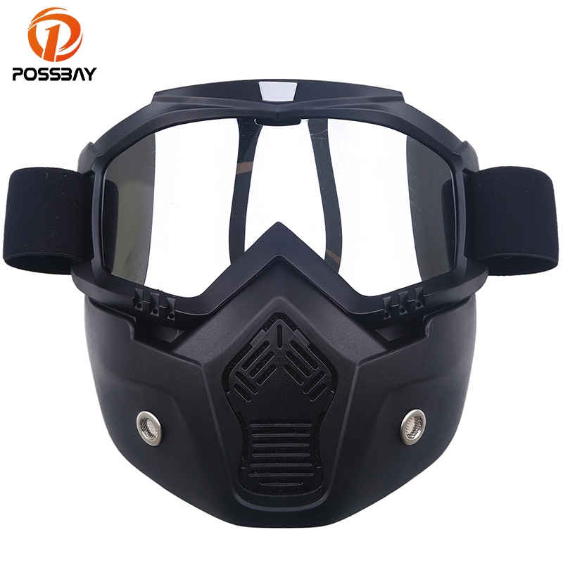 POSSBAY Motorcycle Glasses Googles with Mask Open Face Detachable Goggle Helmets Vintage Motorcycle Glasses Universal