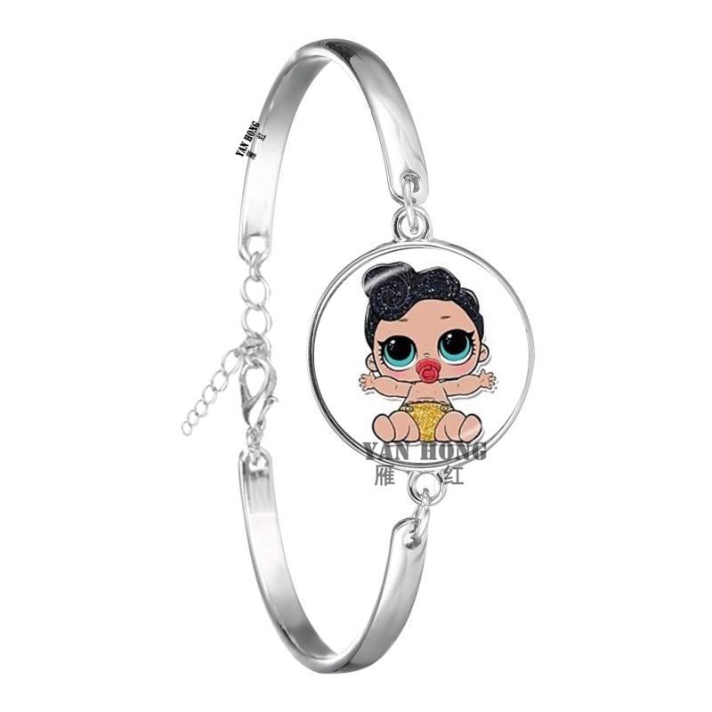 Красивый кукольный стеклянный браслет 20 мм стеклянный купол мультфильм ювелирные изделия круглый стеклянный браслет детский очаровательный подарок - Окраска металла: 20