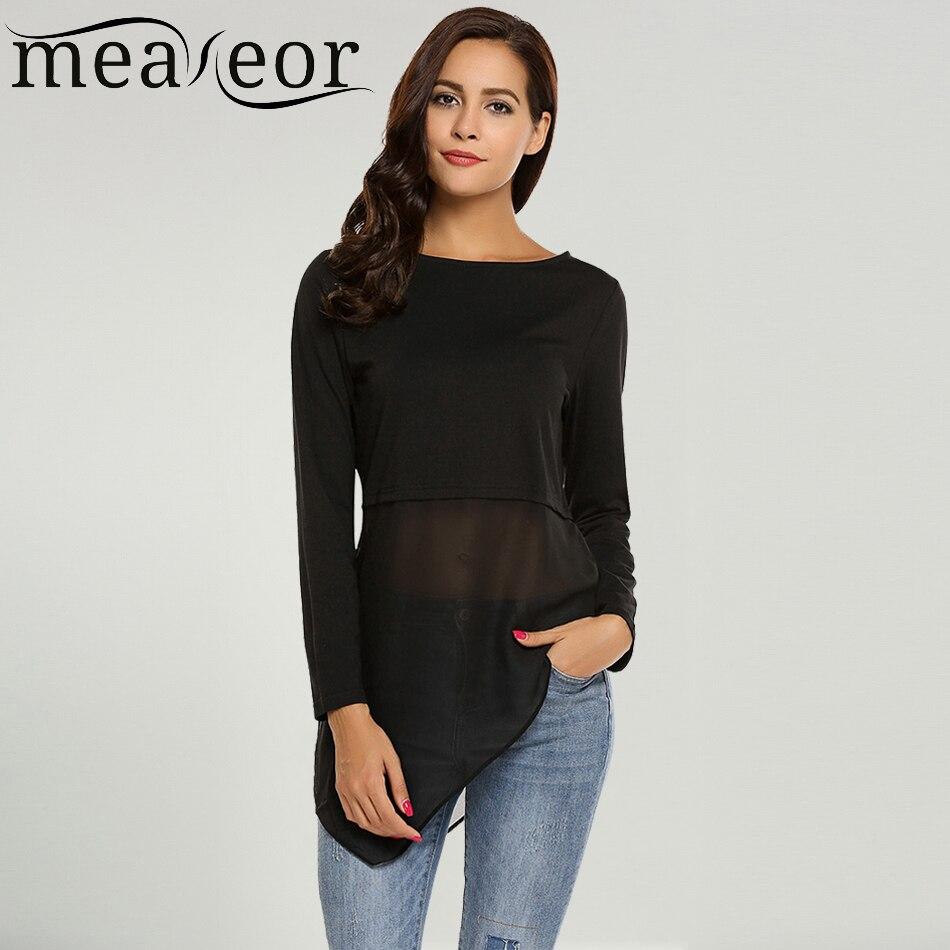 Meaneor brand women mesh patchwork long t shirts chiffon for Mesh long sleeve t shirt
