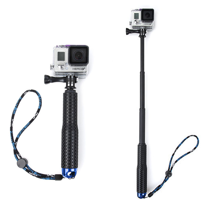 1 Set Extendable Pole Mini Selfie Stick Waterproof Monopod Blue For GoPro Hero 4/3/3+ New pannovo g 215 waterproof foam floaty backdoor w 3m adhesive tape for gopro hero 4 3 sj4000