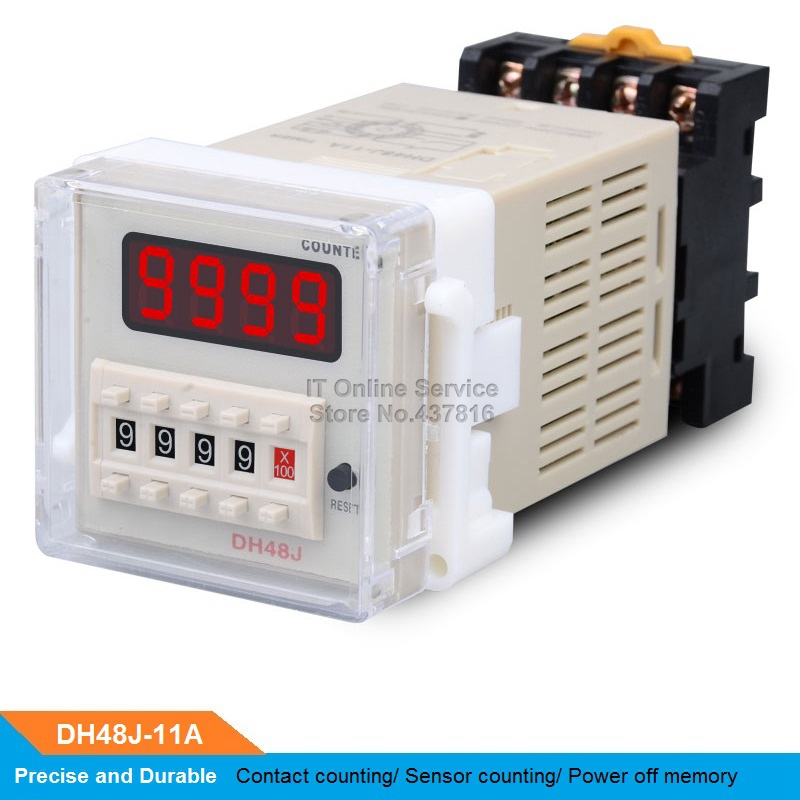 DH48J-11A 220V/24V Digital display counter 11 pins counting relay Power off memory function 110vac 30 cps dh48j digital counter relay