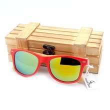 BOBO BIRD Brand Red Frame Sunglasses Woman Polarized Bamboo Holder Sun Glasses Beach Fashion Coated With Wood Box 2017 Oculos