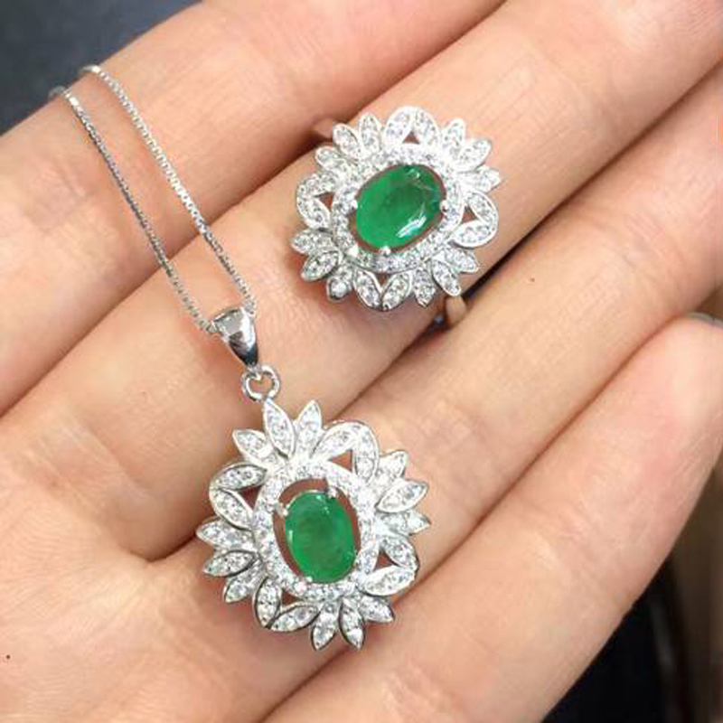 2017 Qi Xuan_Fine Jewelry_Colombia Green Stone Flower Jewelry Set_S925 Solid Silver Pendant Jewelry Set_Factory Directly Sales 2017 Qi Xuan_Fine Jewelry_Colombia Green Stone Flower Jewelry Set_S925 Solid Silver Pendant Jewelry Set_Factory Directly Sales