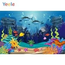 Yeele Vinyl  Cartoon Seabed Mermaid Shark Birthday Party Photography Backdrop Children Photographic Background Photo Studio