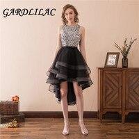 Gardlilac Black Sequins Homecoming Dress High Low O neck Junior Evening Prom Dress Tulle